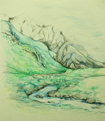 Flow, mountain river